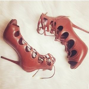 Alexander McQueen Tan Caged Lace Up Heels